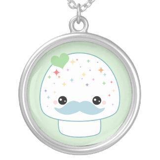 Kawaii Mushroom with Mustache Pendant