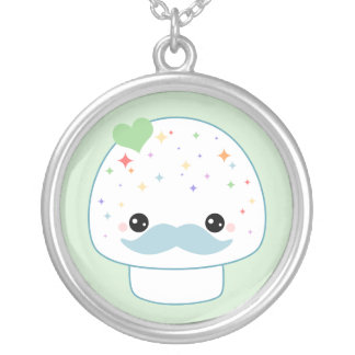 Kawaii Mushroom with Mustache Round Pendant Necklace