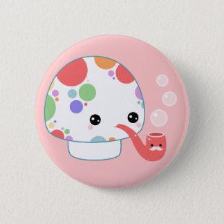 Kawaii Mushroom with Pipe 6 Cm Round Badge
