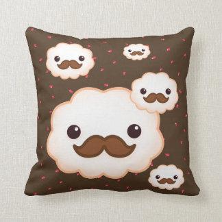 Kawaii mustache cloud pillow