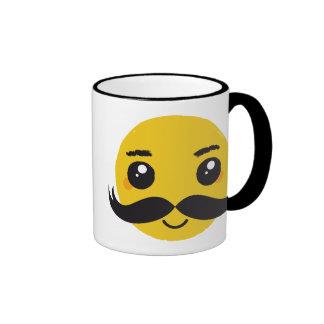 Kawaii Mustache Smiling Ringer Mug