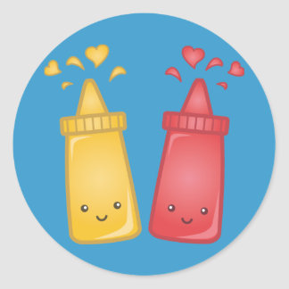 Kawaii Mustard and Ketchup Love Classic Round Sticker