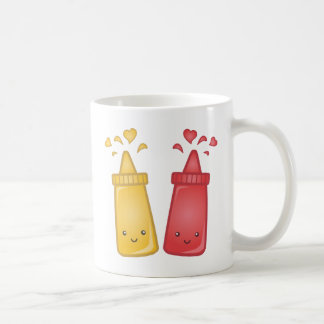 Kawaii Mustard and Ketchup Love Coffee Mug