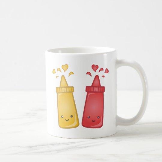 Kawaii Mustard and Ketchup Love Coffee Mug