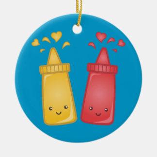 Kawaii Mustard and Ketchup Love Round Ceramic Decoration