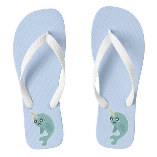 Kawaii Narwhal Flip Flops