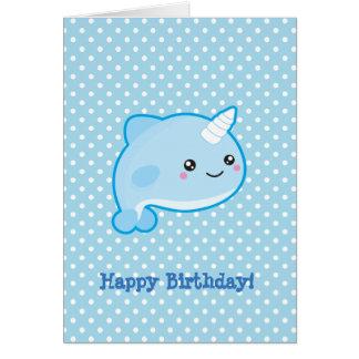 Kawaii Narwhal Happy Birthday Card
