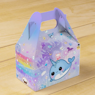 Kawaii narwhal in the dreamy kingdom party favour boxes
