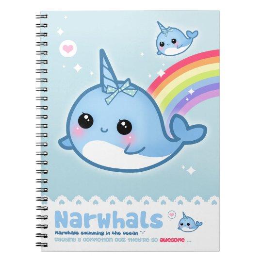 Kawaii narwhals spiral notebook