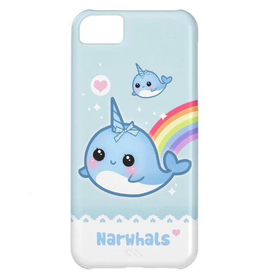 Kawaii narwhals with rainbow iPhone 5C case