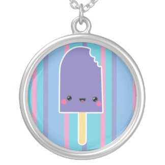 Kawaii Nibbled Popsicle on Blue Stripes Personalized Necklace