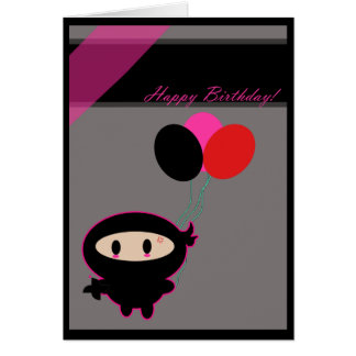 Kawaii Ninja Happy Birthday Card