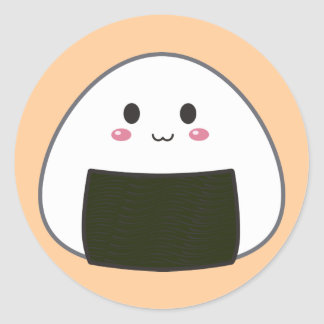 "Kawaii ""Onigiri"" Rice Ball Round Sticker"