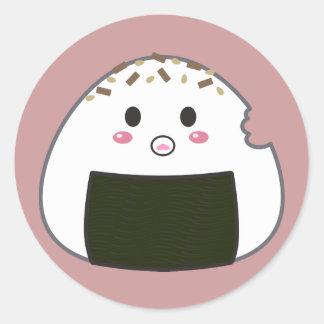 "Kawaii ""Onigiri"" Rice Ball with Bitemark Round Sticker"
