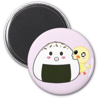 "Kawaii ""Onigiri"" Rice Ball with Ejiki the Chick 6 Cm Round Magnet"