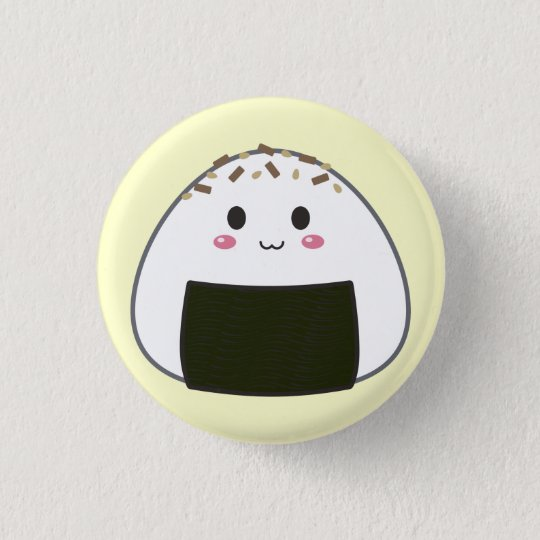 "Kawaii ""Onigiri"" Rice Ball with Toppings 3 Cm Round Badge"