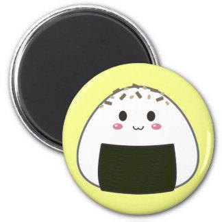 "Kawaii ""Onigiri"" Rice Ball with Toppings 6 Cm Round Magnet"