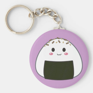 "Kawaii ""Onigiri"" Rice Ball with Toppings Basic Round Button Key Ring"