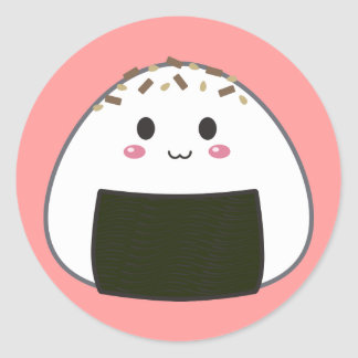"Kawaii ""Onigiri"" Rice Ball with Toppings Round Sticker"