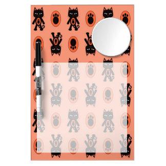 Kawaii Orange Cat and Paw Print Pattern Dry Erase Board With Mirror