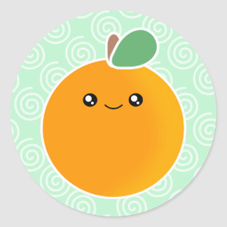 Kawaii Orange Classic Round Sticker