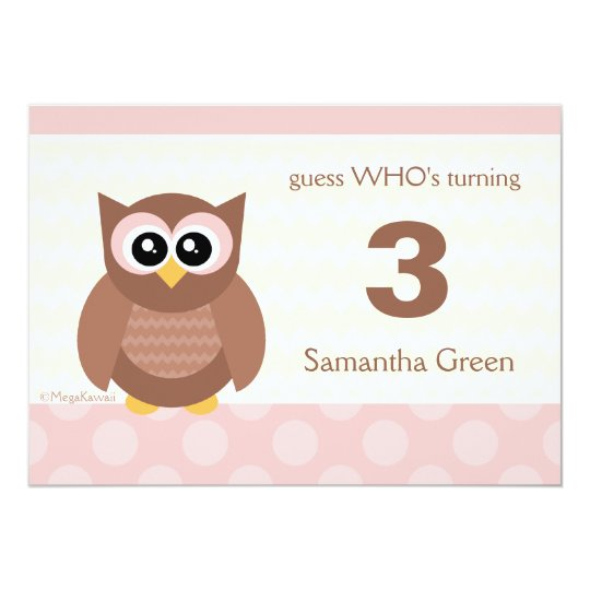 Kawaii Owl Birthday Party Invitations