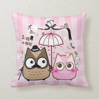 Kawaii owl couple cushion