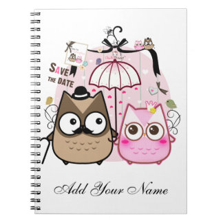 Kawaii owl couple - personalized notebook