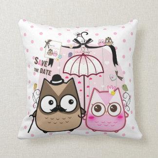 Kawaii owl couple throw pillows