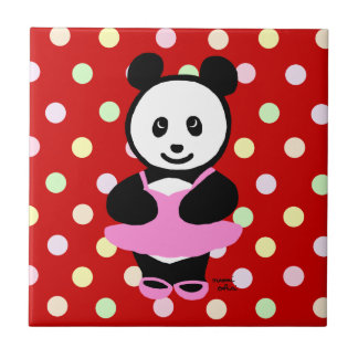 Kawaii Panda Ballet Dancer Small Square Tile
