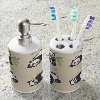 Kawaii Panda Bathroom Soap and Toothbrush Holders