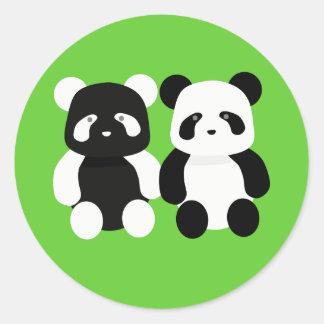 kawaii panda buddies classic round sticker