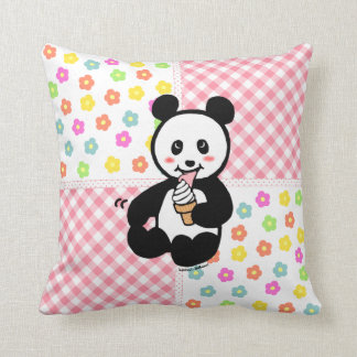 Kawaii Panda Ice Cream Cartoon Patchwork Cushion