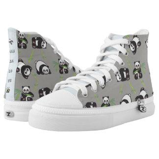 Kawaii Panda Love - HiTop Shoes Printed Shoes