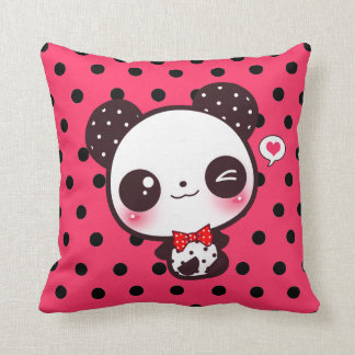 Kawaii panda on black polka dots cushion