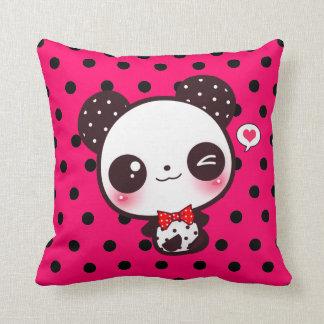 Kawaii panda on black polka dots throw pillow