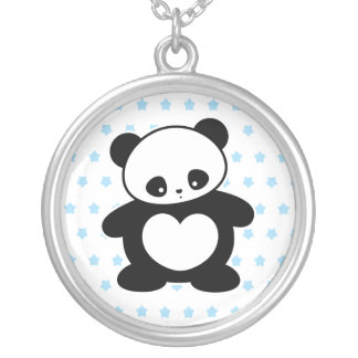 Kawaii panda silver plated necklace