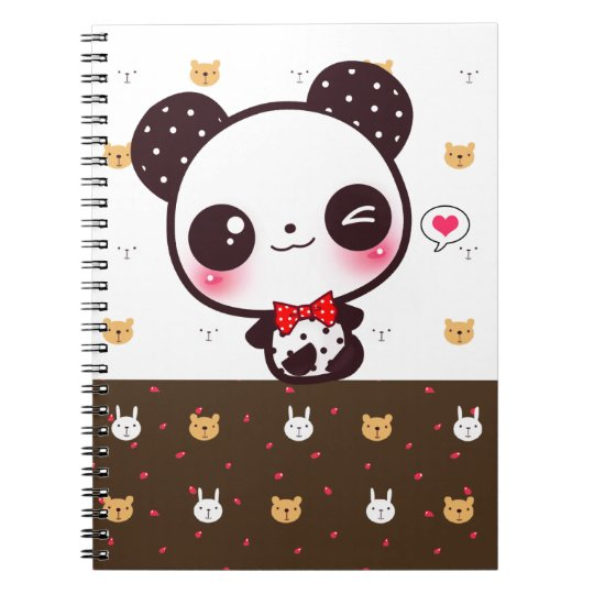 Kawaii panda spiral notebook