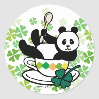Kawaii Panda Tea Break Clovers Classic Round Sticker