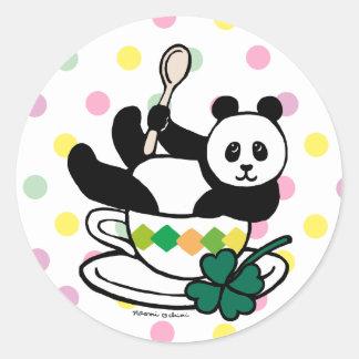 Kawaii Panda Tea Break Polka Dot Classic Round Sticker