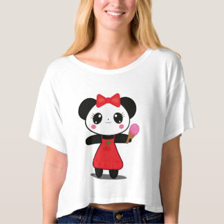 Kawaii Panda With Ice Cream Crop Tshirt