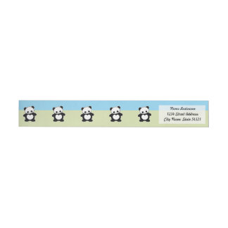 Kawaii panda wrap around label