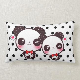 Kawaii pandas on black polka dots pillows