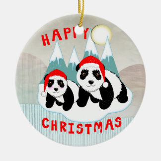 Kawaii Pandas Snow Scene Christmas Personalized Round Ceramic Decoration