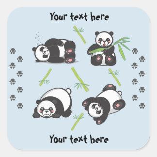Kawaii Pandas Square Stickers