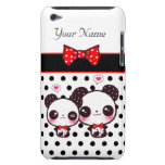 Kawaii pandas with red bow on polka dots barely there iPod cases