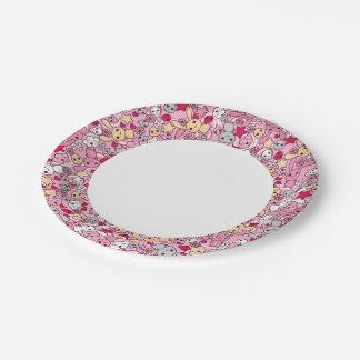 Kawaii pattern paper plate