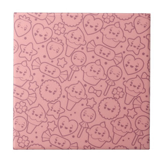 Kawaii pattern with cute cakes tile