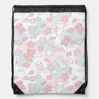 kawaii pattern with doodle drawstring bag