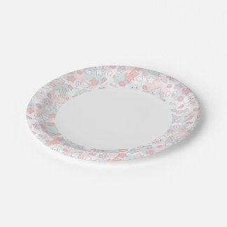 kawaii pattern with doodle paper plate
